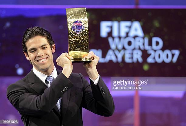 Brazil's football player Kaka holds the trophy of FIFA Player of the Year during the FIFA World Player Gala 2007 award ceremony 17 December 2007 in...