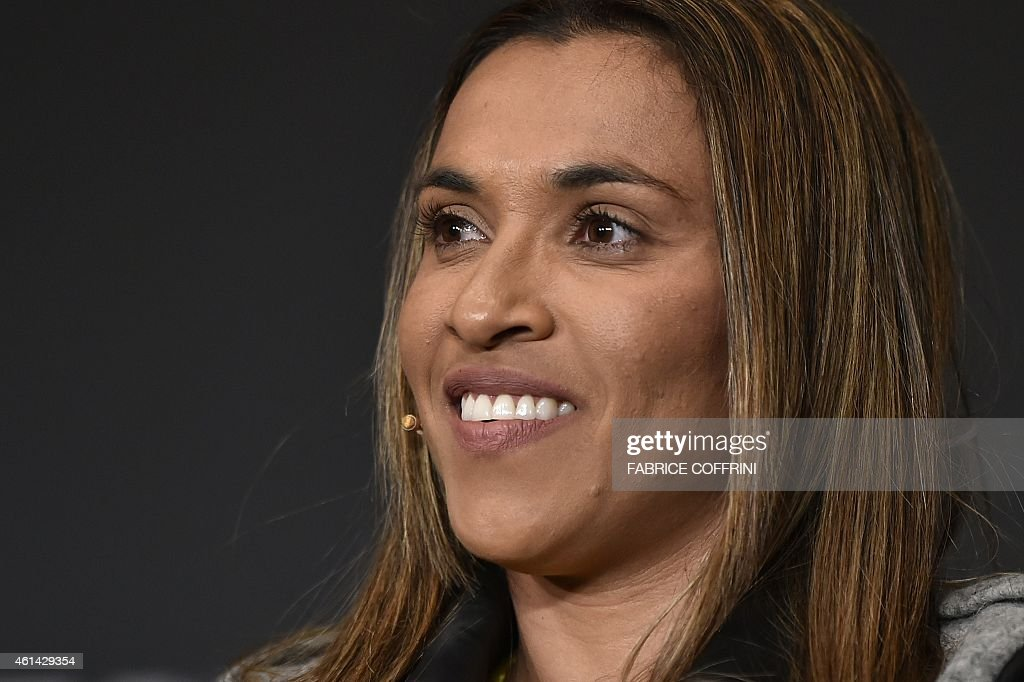 Brazil's football player <a gi-track='captionPersonalityLinkClicked' href=/galleries/search?phrase=Marta+-+Soccer+Player&family=editorial&specificpeople=3038337 ng-click='$event.stopPropagation()'>Marta</a> gives a press conference ahead of the 2014 FIFA Ballon d'Or award ceremony at the Kongresshaus in Zurich on January 12, 2015. AFP PHOTO / FABRICE COFFRINI