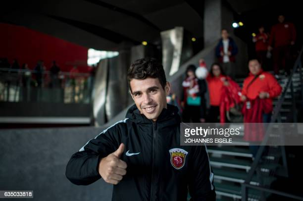 Brazil's football player Oscar of Shanghai SIPG poses for a portrait during a season launch event in Shanghai on February 13 2017 / AFP / Johannes...