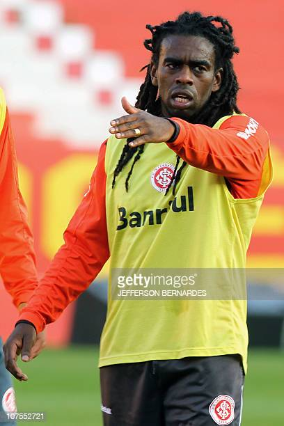 Brazil's footballer Paulo Cesar Tinga of Internacional gestures during the training session at Beira Rio stadium in Porto Alegre on August 17 2010...
