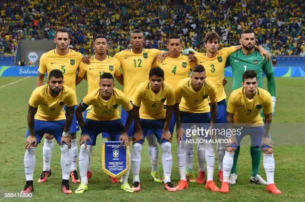 Brazil's footballers forward Gabriel Barbosa forward Neymar defender Douglas Santos forward Luan and defender Zeca and midfield Renato Augusto...