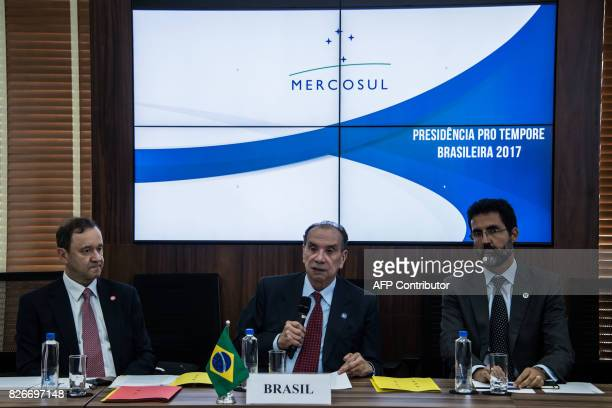Brazil's Foreign Minister Aloysio Nunes Ferreira speaks during a meeting of the South American trade bloc Mercosur on the Venezuelan crisis in Sao...