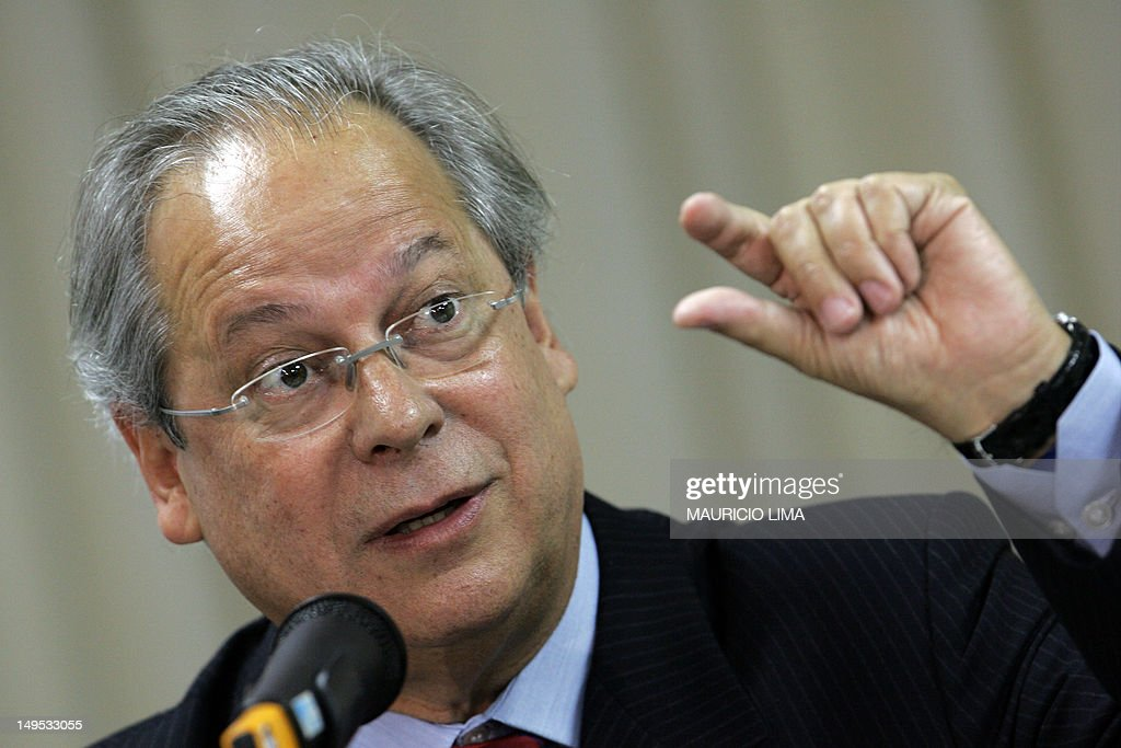 Brazil's former Chief of Staff Jose Dirceu speaks during a press conference in Sao Paulo Brazil 30 August 2007 Dirceu is the main defendant in a...
