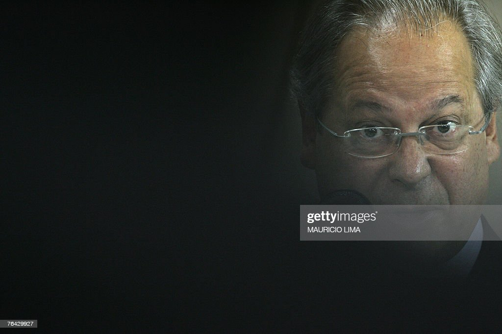Brazil's former Chief of Staff Jose Dirceu speaks during a press conference in Sao Paulo Brazil 30 August 2007 Brazil's Supreme Court has indicted...