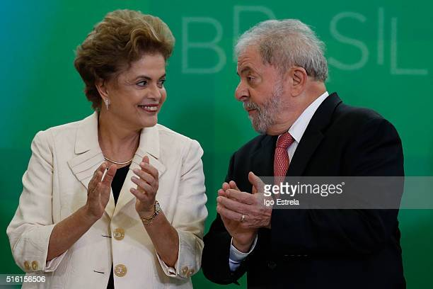 Brazil's former president Luiz Inacio Lula da Silva is sworn in as the new chief of staff for embattled President Dilma Rousseff on March 17 2016 in...