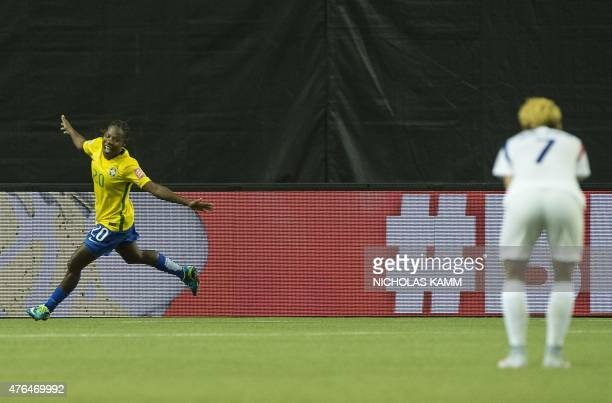 Brazil's Formiga celebrates after scoring against South Korea during a Group E match at the 2015 FIFA Women's World Cup at the Olympic Stadium in...