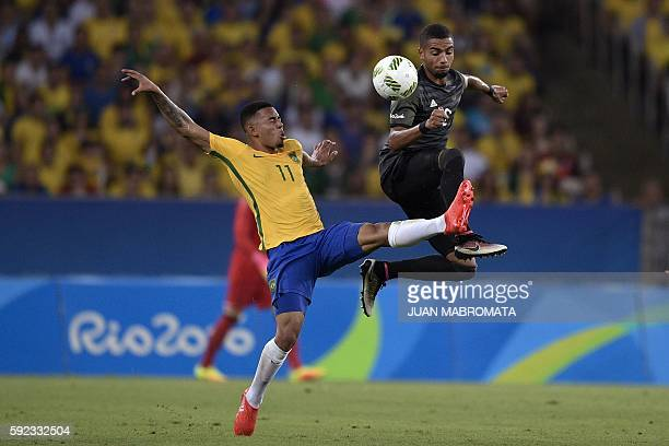 Brazil's forward Gabriel Jesus vies with Germany's midfielder Jeremy Toljan during the Rio 2016 Olympic Games men's football gold medal match between...