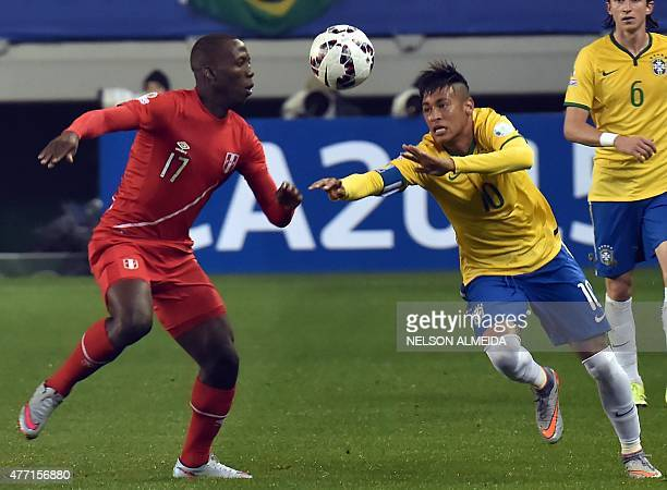 Brazil's forward Neymar and Peru's defender Luis Advincula vie for the ball during their 2015 Copa America football championship match in Temuco...