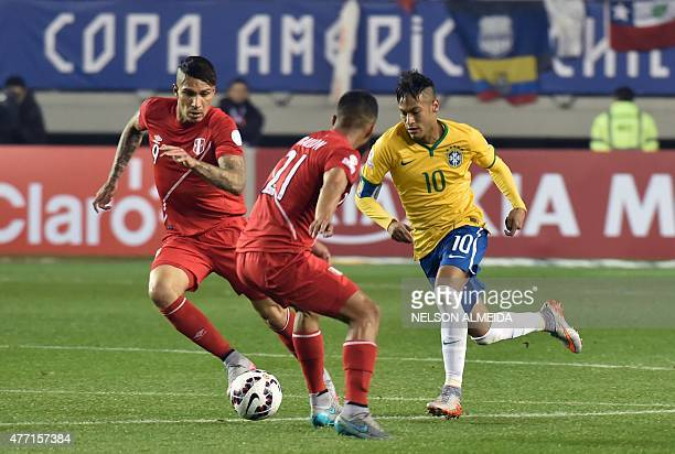 Brazil's forward Neymar Brazil's midfielder Philippe Coutinho and Brazil's forward Diego Tardelli vie for the ball during their 2015 Copa America...