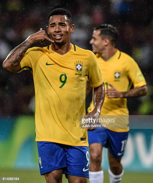 Brazil's Gabriel Jesus celebrates after scoring against Venezuela during their Russia 2018 FIFA World Cup qualifier football match in Merida...
