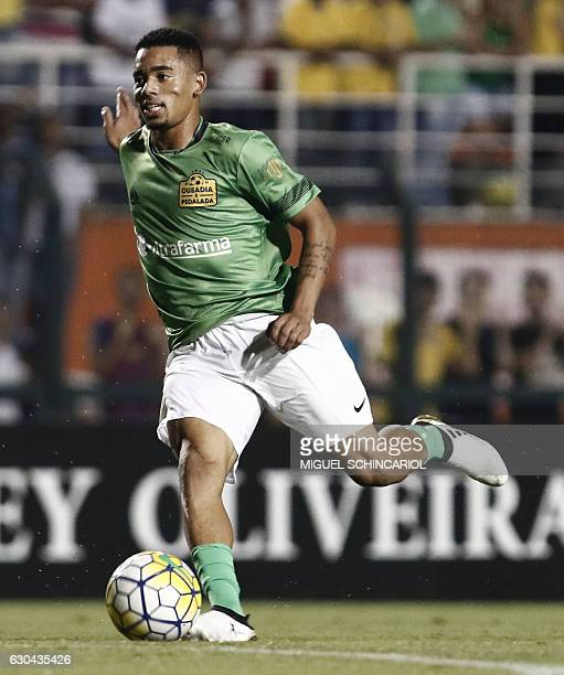 Brazil's Gabriel Jesus of the England team Manchester City controls the ball during the charity football match Ousadia vs Pedalada at Pacaembu...