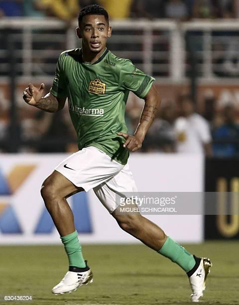 Brazil's Gabriel Jesus of the England team Manchester City runs during the charity football match Ousadia vs Pedalada at Pacaembu stadium in Sao...