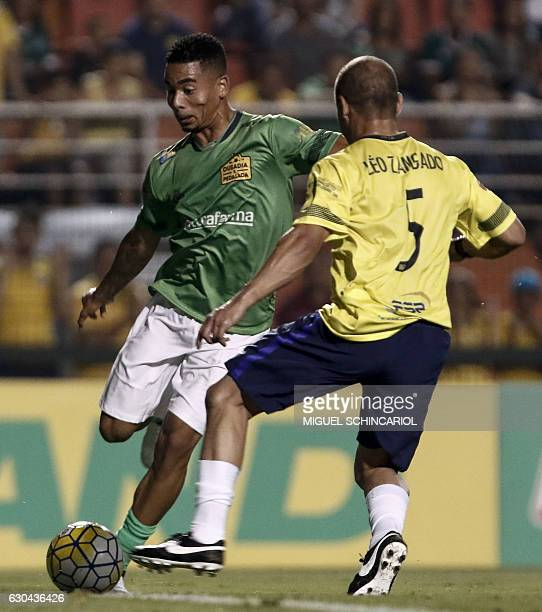 Brazil's Gabriel Jesus of the England team Manchester City vies for the ball during the charity football match Ousadia vs Pedalada at Pacaembu...