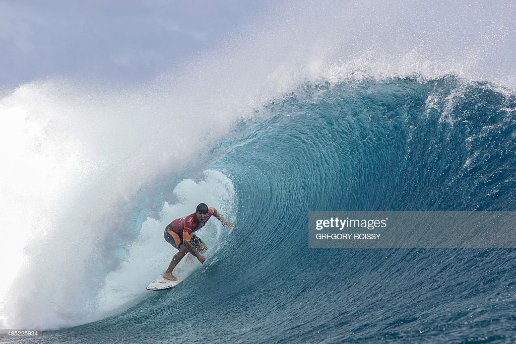 Brazil's Gabriel Medina competes in the 2015 Billabong Pro Tahiti World Surf league tour n°3 along the Teahupo'o coast western of the French...