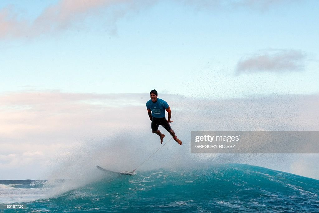 Brazil's Gabriel Medina reacts after competing in the World Surf league tour n°4 as part of the 2015 Billabong Pro Tahiti along the Teahupo'o coast...
