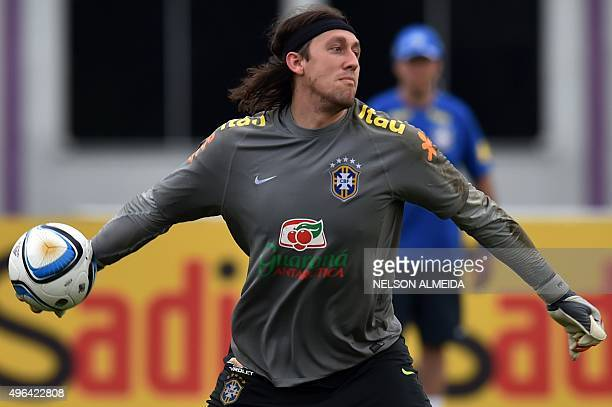 Brazil's goalkeeper Cassio takes part in a training session at the Corinthians training centre in Sao Paulo Brazil on November 9 2015 Brazil will...