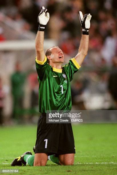 Brazil's goalkeeper Taffarel celebrates
