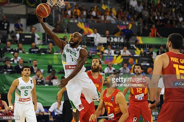 Brazil's guard Larry Taylor vies with Spain's guard Jose Calderon during the 2014 FIBA World basketball championships group A match Brazil vs Spain...