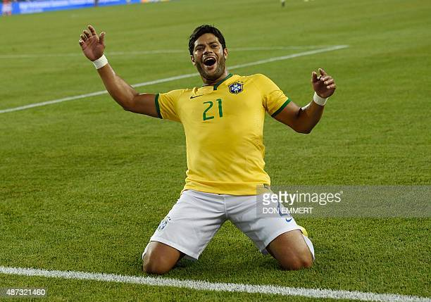 Brazil's Hulk celebrates after scoring a goal during the friendly match between the USA and Brazil September 8 2015 at Gillette Stadium in Foxborough...