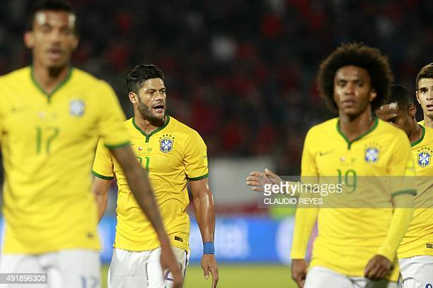 Brazil's Hulk is pictured during halftime of the Russia 2018 FIFA World Cup qualifiers match against Chile at the Nacional stadium in Santiago de...