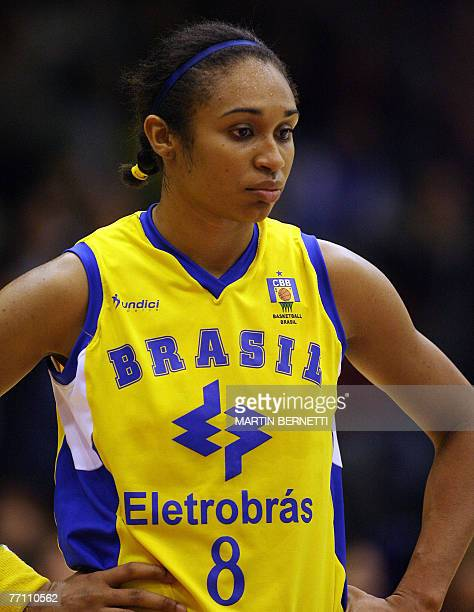 Brazil's Iziane Castro reacts after losing the game against Cuba during their Women FIBA Americas Championship 2007 semifinals 29 September 2007 in...