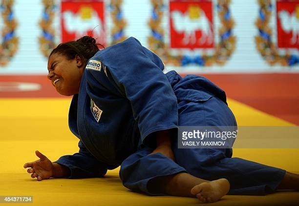 Brazil's judoka Maria Suelen Altheman reacts after being defeated in the 78 kg category final at the IJF World Judo Championship in Chelyabinsk on...