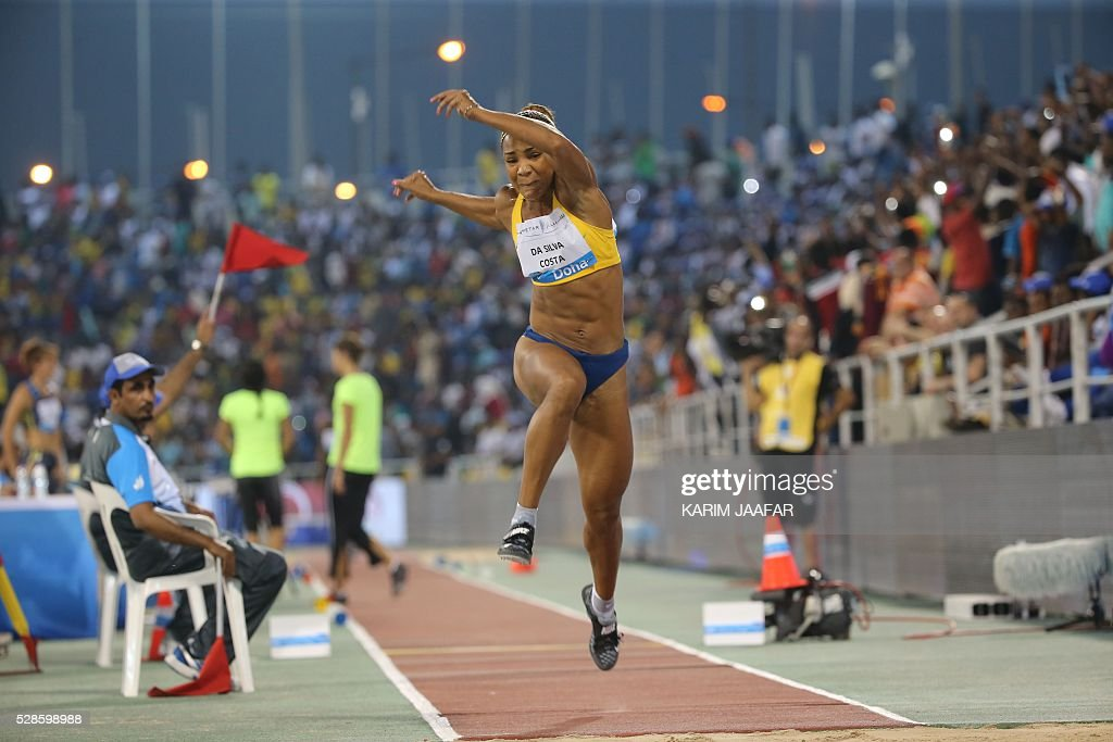 Brazil's Keila da Silva Costa competes in the women's triple jump event at the Diamond League athletics competition at the Suhaim bin Hamad Stadium in Doha on May 6, 2016. / AFP / KARIM