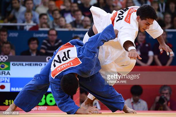 Brazil's Leandro Guilheiro competes with Japan's Takahiro Nakai during their men's 81kg judo contest repechage match of the London 2012 Olympic Games...