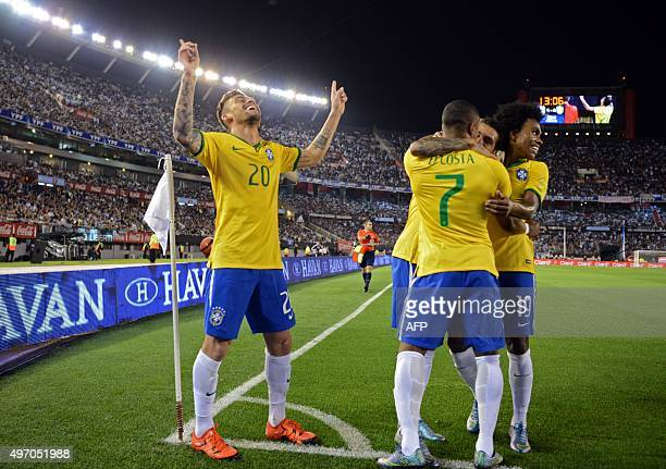 Brazil's Lucas Lima celebrates next to teammates after scoring against Argentina during their Russia 2018 FIFA World Cup South American Qualifiers...