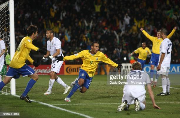 Brazil's Luis Fabiano celebrates after scoring the equaliser