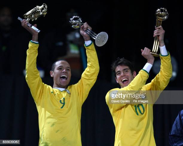 Brazil's Luis Fabiano celebrates with the Golden Boot and Silver Ball for second best player and Kaka celebrates with the Golden Ball for best player...