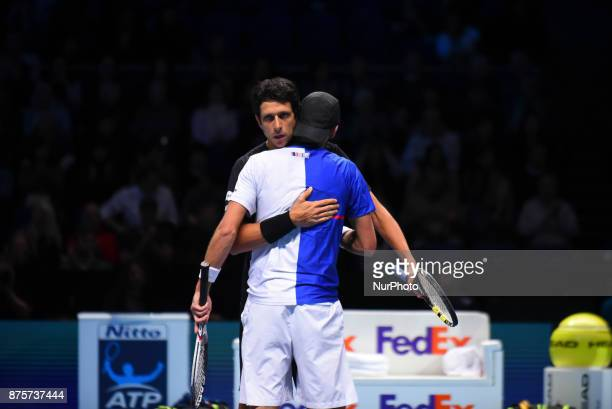 Brazil's Marcelo Melo and his partner Poland's Lukasz Kubot celebrate beating US player Ryan Harrison and New Zealand's Michael Venus during their...