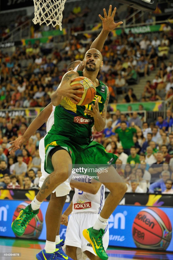 Brazil's Marcus Vieira in action during the 2014 FIBA World basketball championships group A match between France and Brazil at the Palacio Municipal de Deportes in Granada, Spain on August 30, 2014.
