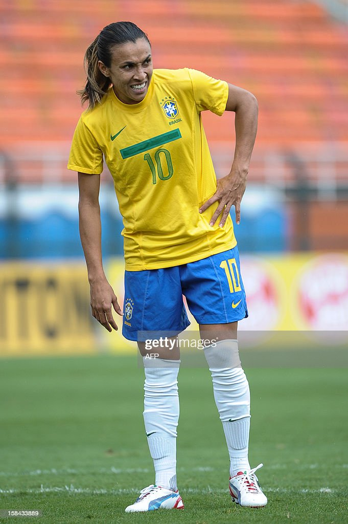 Brazil's Marta catches her breath during their City of Sao Paulo International Women´s Football Tournament match against Denmark at Pacaembu stadium in Sao Paulo, Brazil on December 16, 2012. Brazil, Denmark, Mexico and Portugal are participating in the tournament, which will culminate with the final on December 19. AFP PHOTO/Yasuyoshi CHIBA