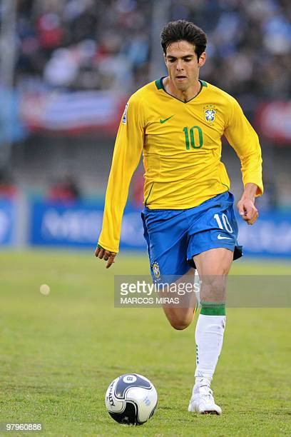 Brazil's midfielder Kaka controls the ball during a FIFA World Cup South Africa2010 South American qualifier football match against Uruguay at the...