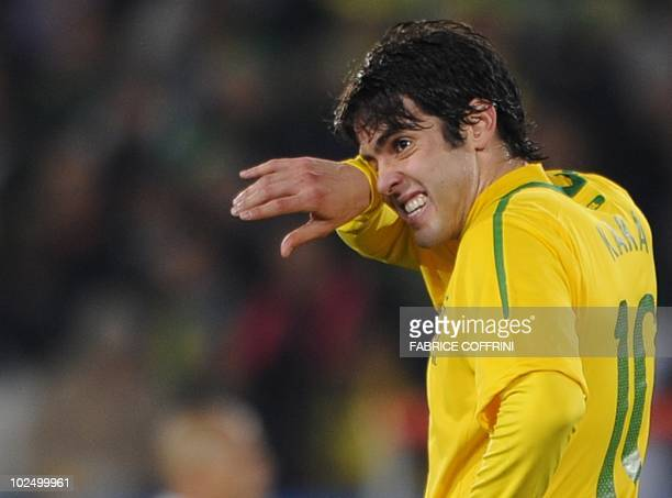 Brazil's midfielder Kaka wipes his face during the 2010 World Cup roundof16 football match between Brazil and Chile on June 28 2010 at Ellis Park...