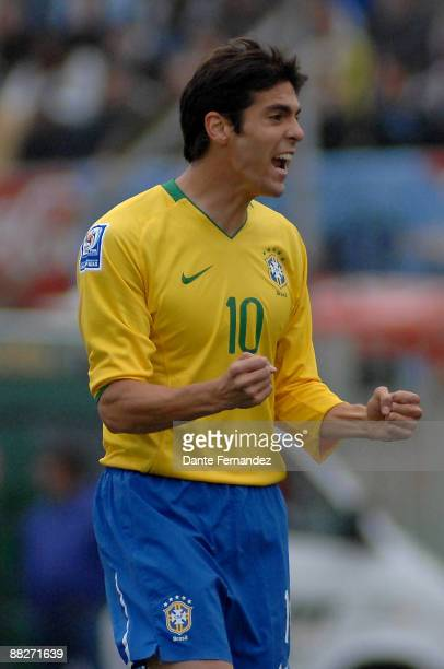 Brazil's Midifielder Kaka scores a goal for his team during their 2010 FIFA World Cup qualifier match at the Centenario Stadium on June 6 2009 in...