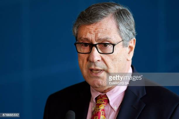 Brazil's Minister of Justice Torquato Jardim speaks during the inauguration ceremony of the new Director General of the Brazilian Federal Police...