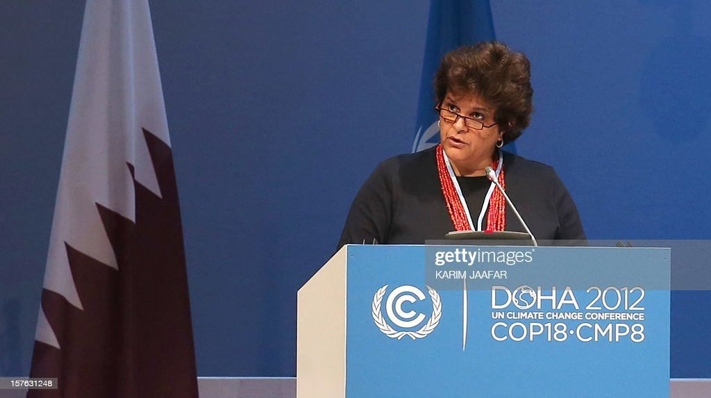 Brazil's Minister of the Environment Izabella Monica Teixeira, addresses delegates at the UN climate talks in Doha, on December 5, 2012. The leaders and delegates are aiming to seal an interim pact by December 7 on reducing Earth-warming greenhouse gas emissions.