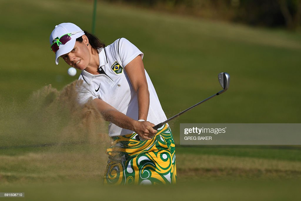 Brazil's Miriam Suely Nagl competes in the Women's individual stroke play at the Olympic Golf course during the Rio 2016 Olympic Games in Rio de...