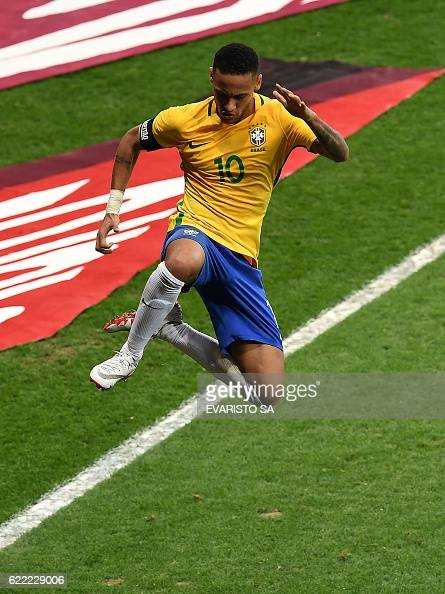 Brazil's Neymar celebrates after scoring against Argentina during their 2018 FIFA World Cup qualifier football match in Belo Horizonte Brazil on...