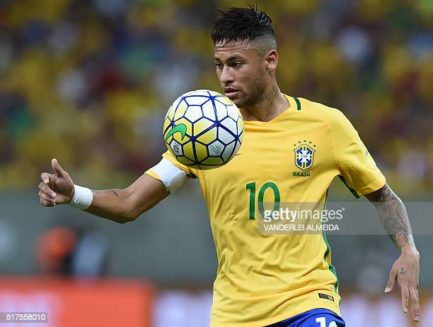 Brazil's Neymar controls the ball during the Russia 2018 FIFA World Cup South American Qualifiers' football match against Uruguay in Recife...