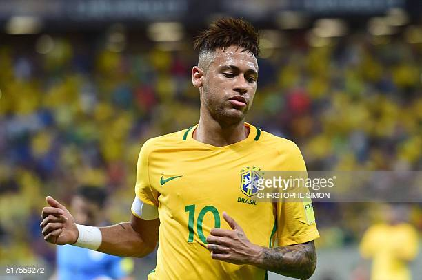 Brazil's Neymar gestures during the Russia 2018 FIFA World Cup South American Qualifiers' football match against Uruguay in Recife northeastern...