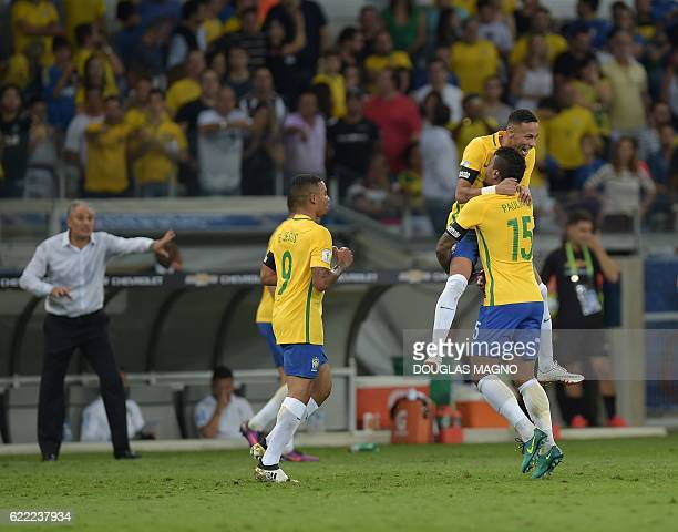 Brazil's Neymar Paulinho and Gabriel Jesus celebrate during their 2018 FIFA World Cup qualifier football match in Belo Horizonte Brazil on November...