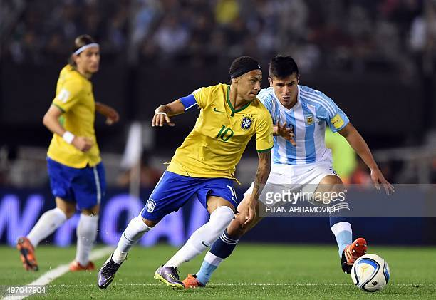 Brazil's Neymar vies with Argentina's Facundo Roncaglia during their Russia 2018 FIFA World Cup South American Qualifiers football match in Buenos...