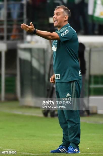 Brazil´s Palmeiras coach Eduardo Baptista gestures during their 2017 Copa Libertadores football match against Uruguay's Penarol held at Allianz...