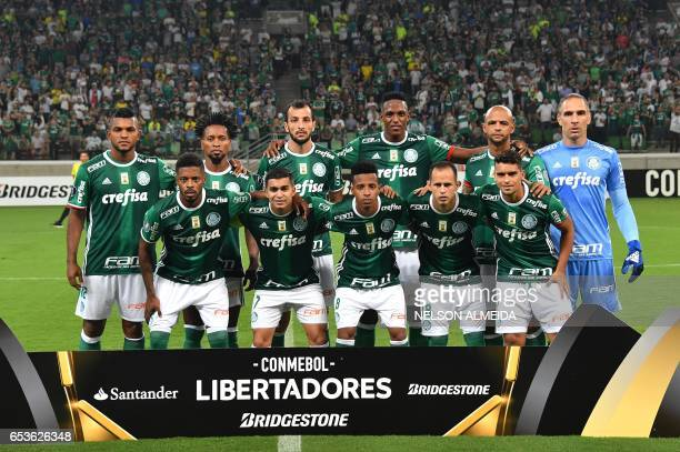 Brazil's Palmeiras footballers pose for pictures before their Libertadores Cup football match against Bolivia's Jorge Wilstermann held at Allianz...