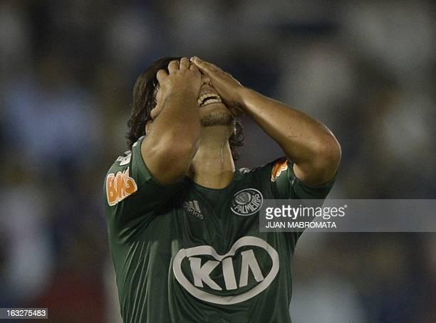 Brazil's Palmeiras midfielder Jorge Valdivia reacts during their Copa Libertadores 2013 Group 2 football match agaisnt Argentina's Tigre at Tigre...