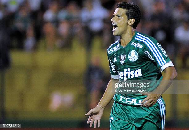 Brazil's Palmeiras player Jaen celebrates after scoring against Uruguay's River Plate during their Copa Libertadores football match in Maldonado...