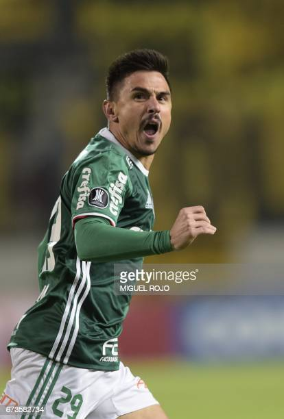 Brazil's Palmeiras player Willian celebrates after scoring a goal against Uruguay's Penarol during their Libertadores Cup football match at the...